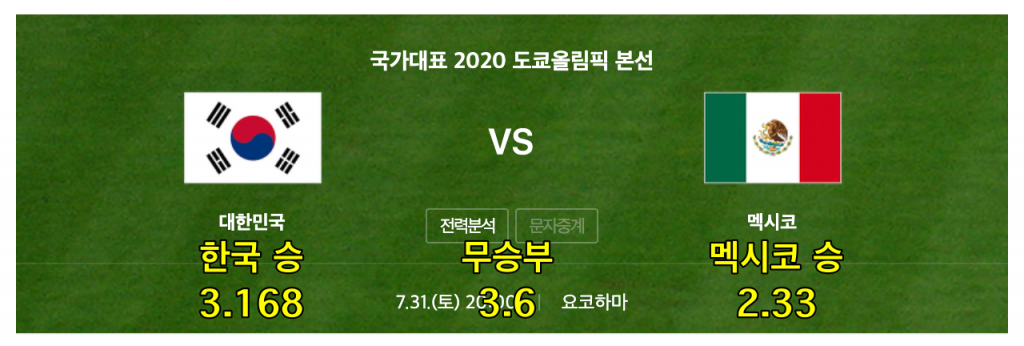 한국 멕시코 올림픽 축구 일정